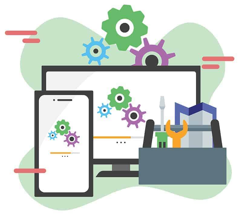 System Update flat design banner illustration concept for digital marketing and business promotion