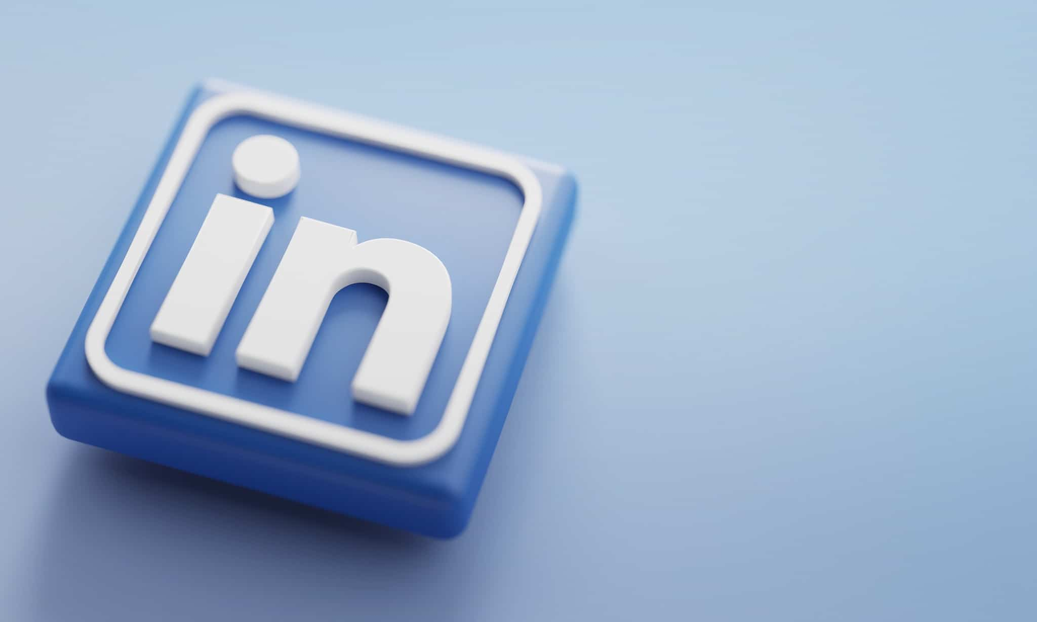 LinkedIn 3D Rendering Close up. Account Promotion Template.